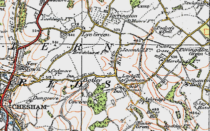 Old map of Botley in 1920