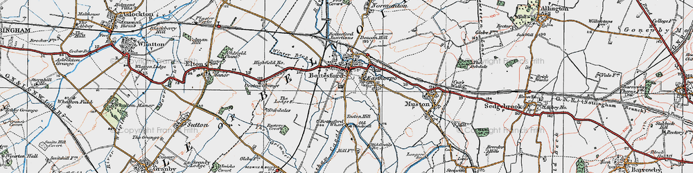 Old map of Bottesford in 1921