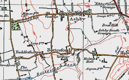 Old map of Bottesford in 1923