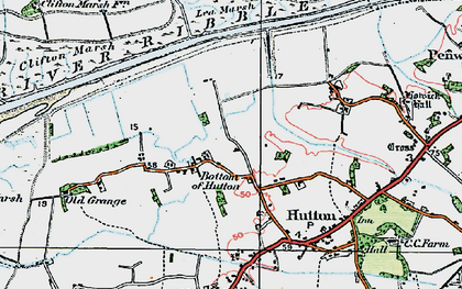 Old map of Bottom of Hutton in 1924
