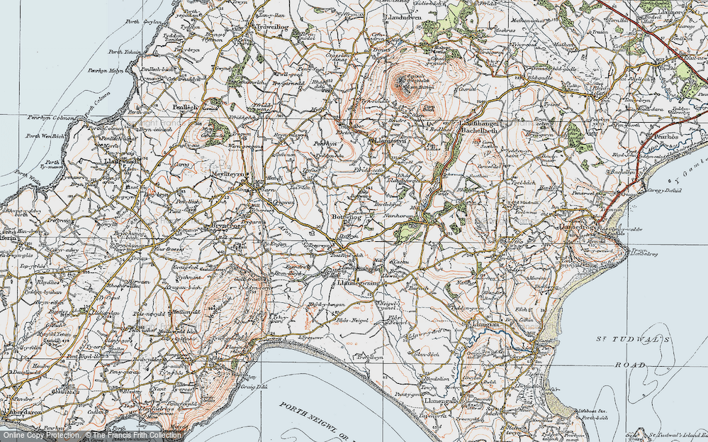 Old Map of Historic Map covering Llandegwning in 1922
