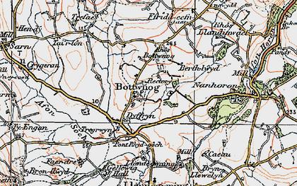 Old map of Botwnnog in 1922