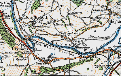 Old map of Boughrood Brest in 1919