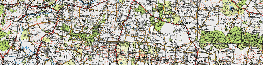 Old map of Boughton Monchelsea in 1921