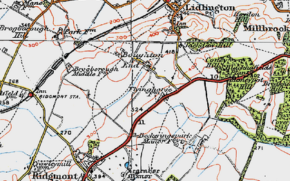 Old map of Bougton End in 1919