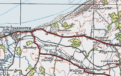 Old map of Bouldnor in 1919