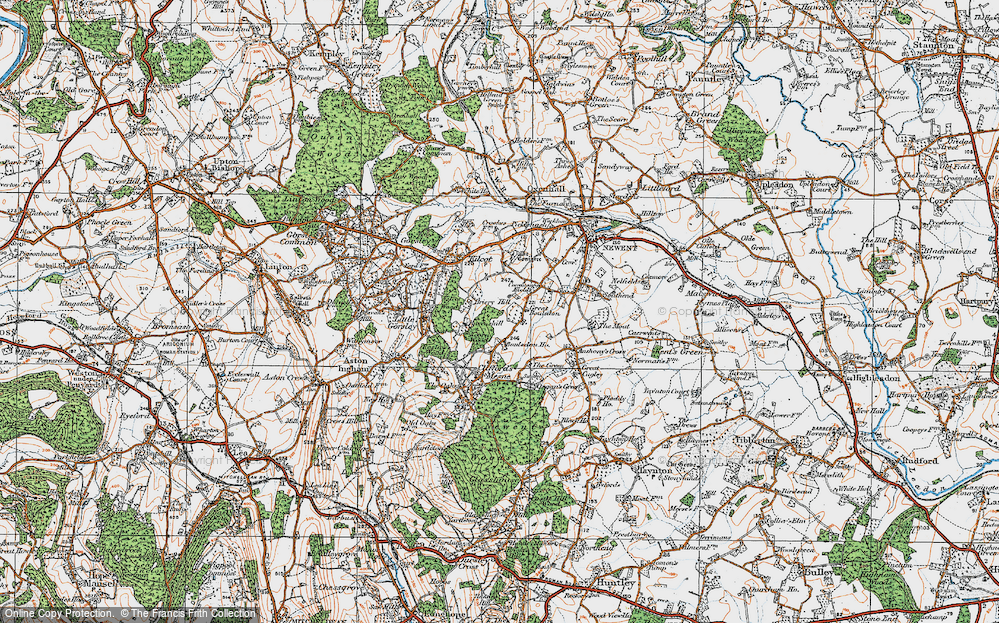 Old Map of Historic Map covering Acorn Wood in 1919