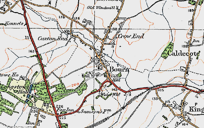 Old map of Bourn in 1920