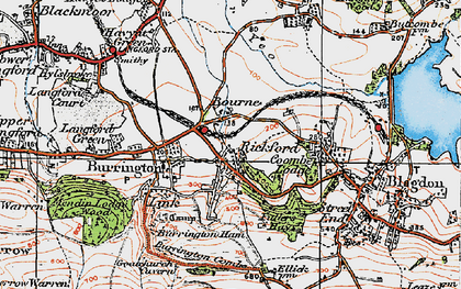 Old map of Bourne in 1919