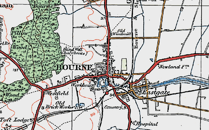 Old map of Bourne in 1922