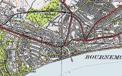 Old map of Bournemouth in 1919