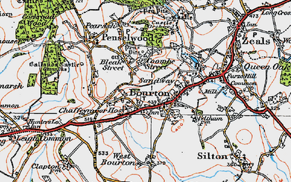 Old map of Bourton in 1919