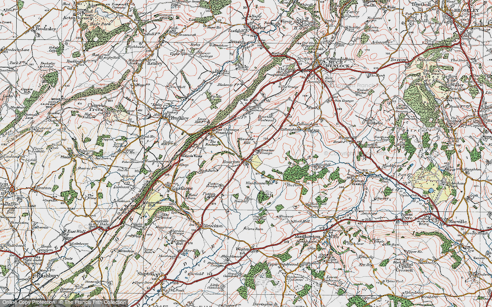 Old Map of Historic Map covering Woodhousefield in 1921