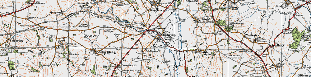 Old map of Bourton-on-the-Water in 1919