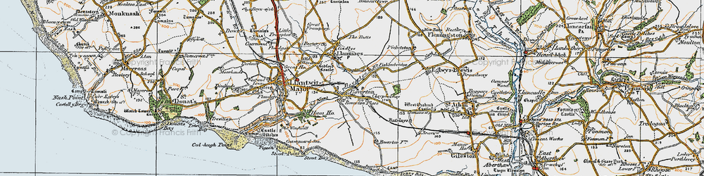 Old map of Boverton in 1922