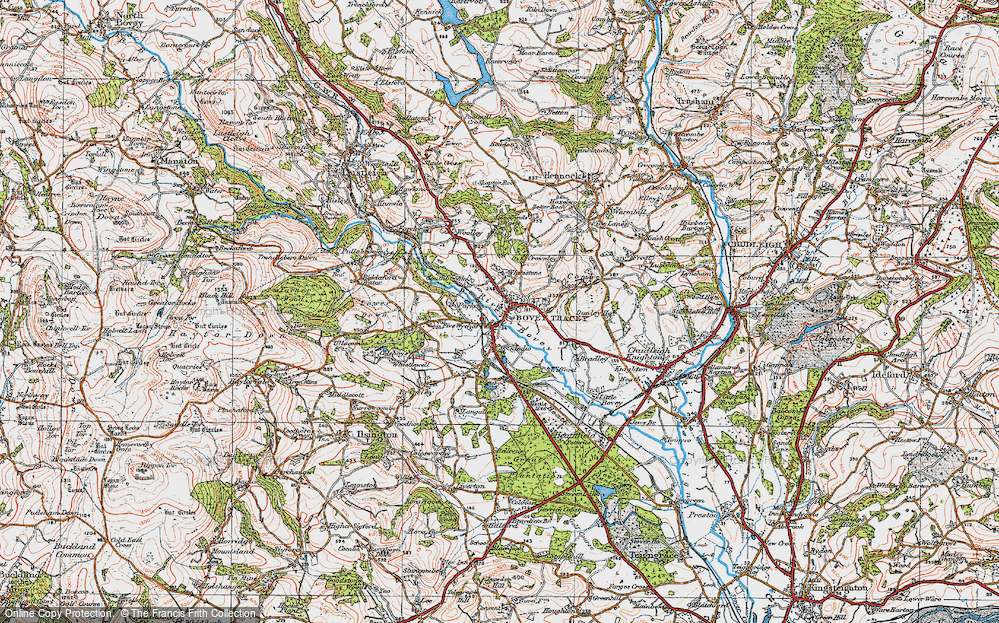 Old Map of Historic Map covering Wifford in 1919