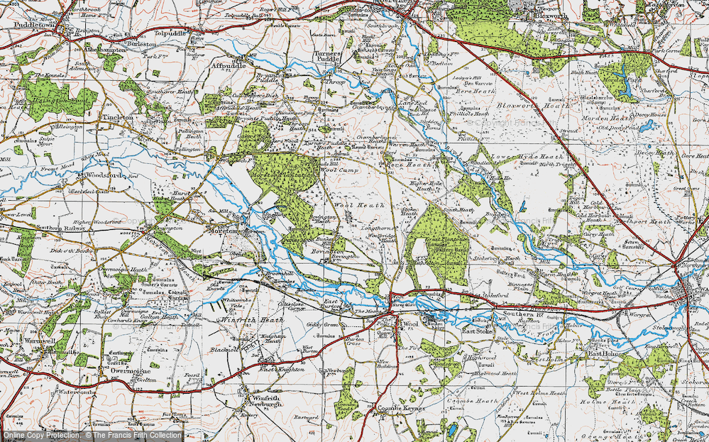 Old Map of Historic Map covering Woolbridge Heath in 1919