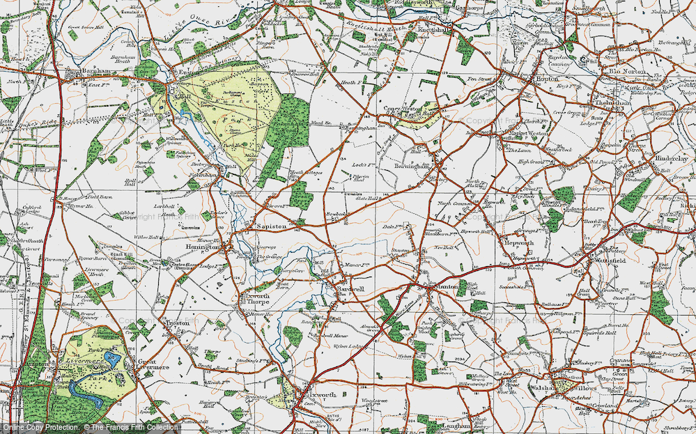 Old Map of Historic Map covering Lanket's Grove in 1920