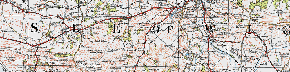 Old map of Apes Down in 1919