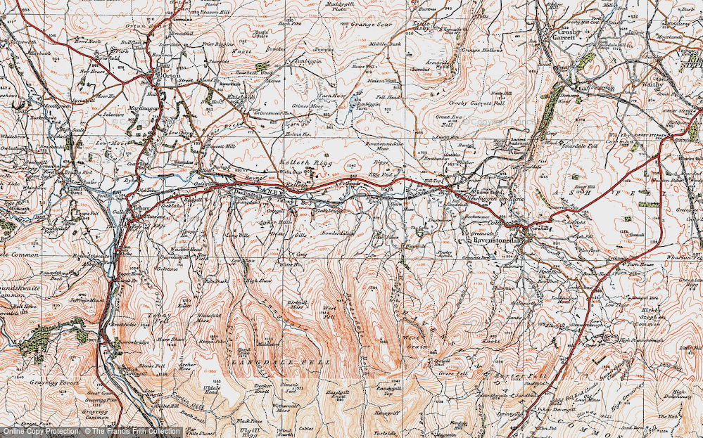 Old Map of Historic Map covering Langdale Knott in 1925