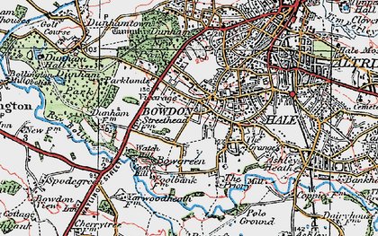 Old map of Bowdon in 1923