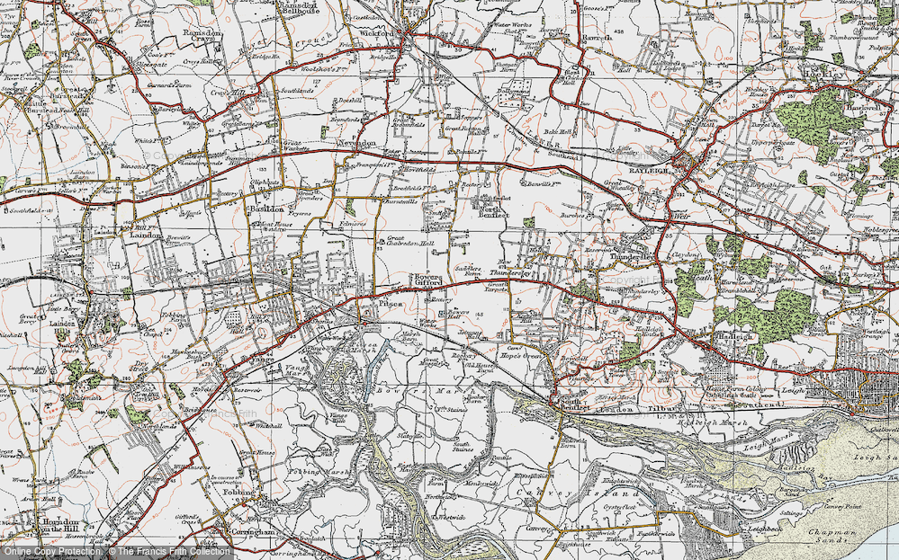 Old Map of Bowers Gifford, 1921 in 1921