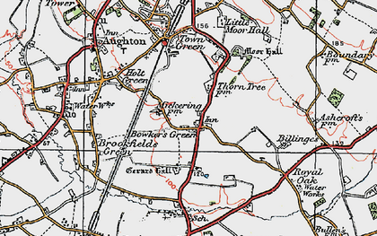 Old map of Bowker's Green in 1923