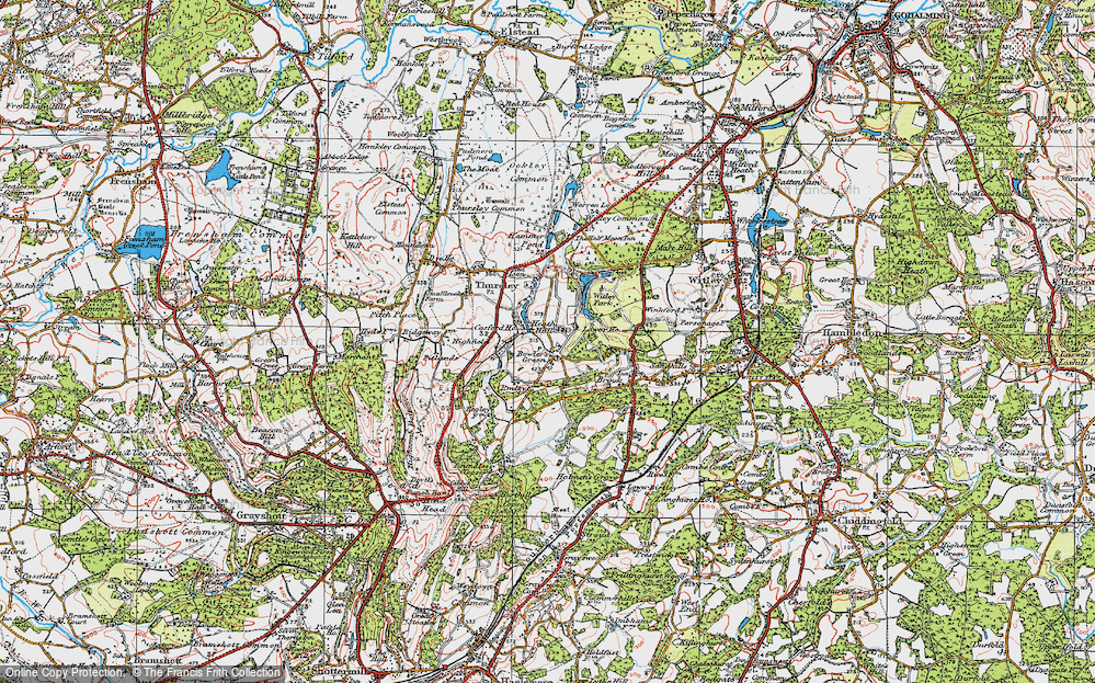 Old Map of Historic Map covering Thursley Lake in 1920