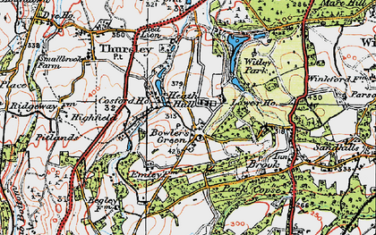 Old map of Thursley Lake in 1920