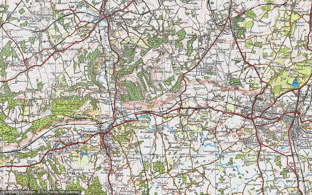 Box Hill Map Map of Box Hill, 1920   Francis Frith