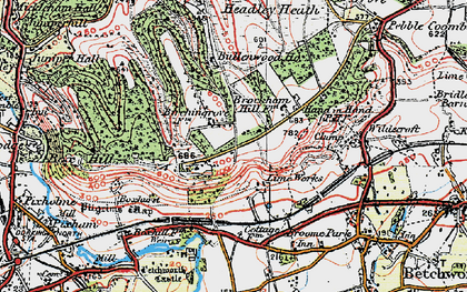 Old map of Box Hill in 1920