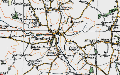Old map of Boxford in 1921