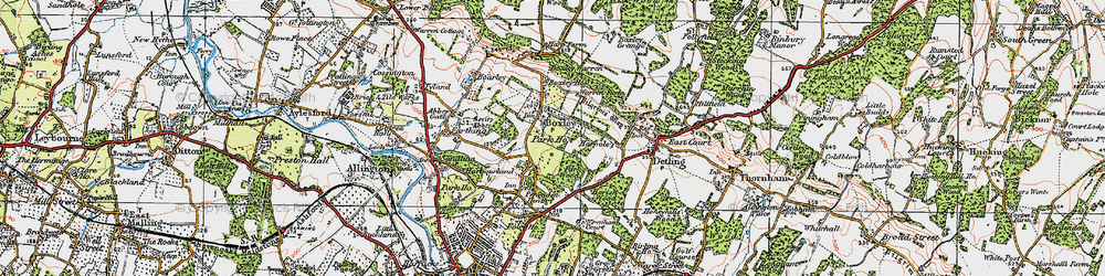 Old map of Boxley in 1921