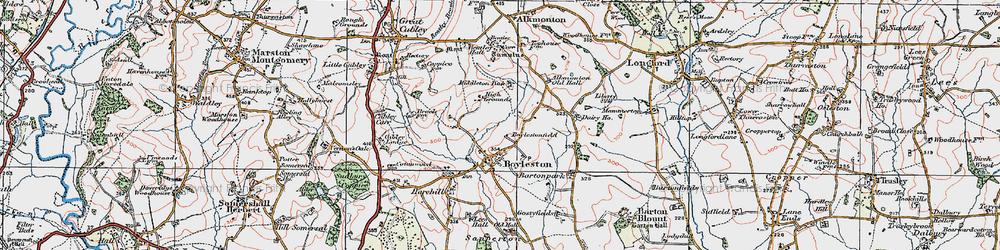 Old map of Alkmonton Village in 1921