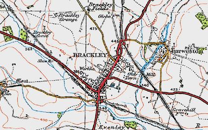 Old map of Brackley in 1919
