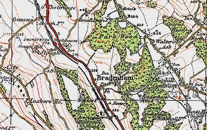 Old map of Bradenham in 1919