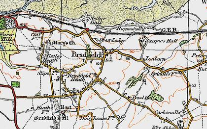 Old map of Bradfield in 1921