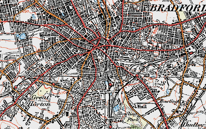 Old map of Bradford in 1925