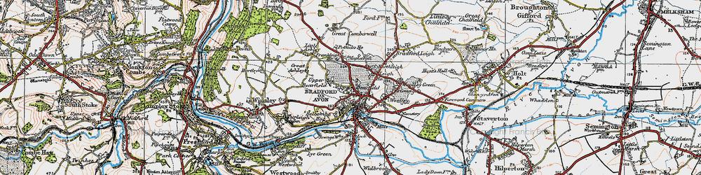 Old map of Bradford-On-Avon in 1919