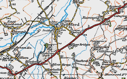 Old map of Bradford-on-Tone in 1919