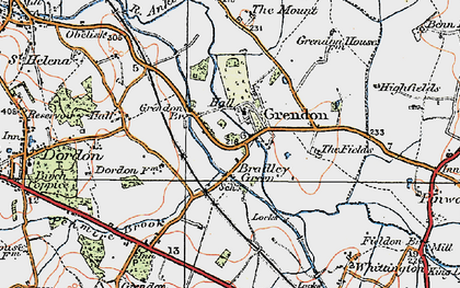 Old map of Bradley Green in 1921