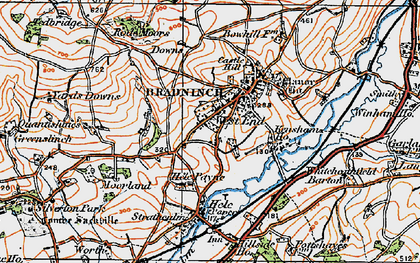 Old map of Bradninch in 1919