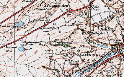 Old map of Worts Hill in 1925