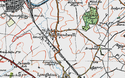 Old map of Bradwell in 1919