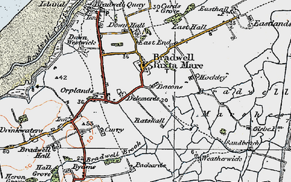 Old map of Bradwell on Sea in 1921