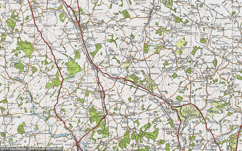 Old Map of Historic Map covering Astonbury Wood in 1920