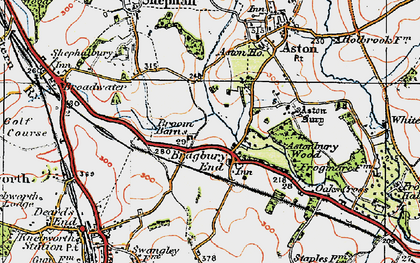 Old map of Astonbury Wood in 1920