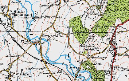 Old map of Bragenham in 1919
