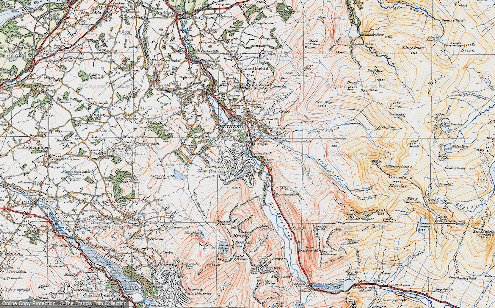 Old Map of Historic Map covering Afon Berthen in 1922