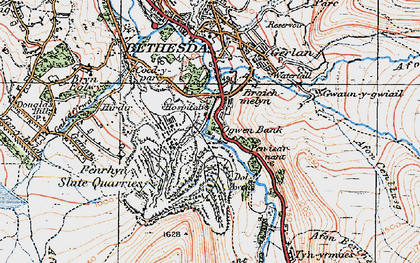 Old map of Afon Berthen in 1922
